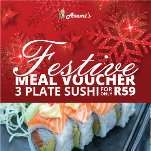 3 Plate Sushi Festive Meal Voucher