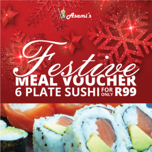 6 Plate Sushi Festive Meal Voucher